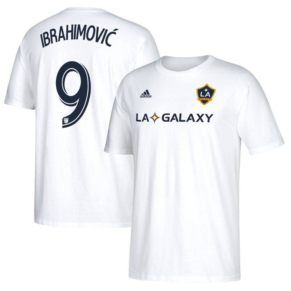 54673a7a5 Details about LA Galaxy Zlatan Ibrahimovic White Men s Adidas Shirt Tee  Number 9