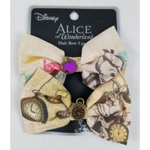 new-loungefly-disney-alice-in-wonderland-story-book-hair-bow-2-pack-set