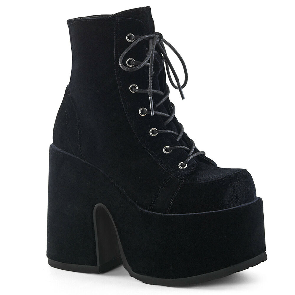 9d1158e3ef33 Details about Black Velvet Chunky Platform 90s Grunge Punk Demonia Ankle  Boots Shoes Womans