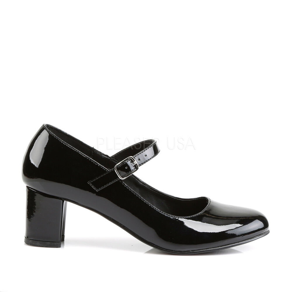 d076703dffb Details about Black Mary Janes Basic Costume Shoes 1950s Catholic School  Girl Low Heels