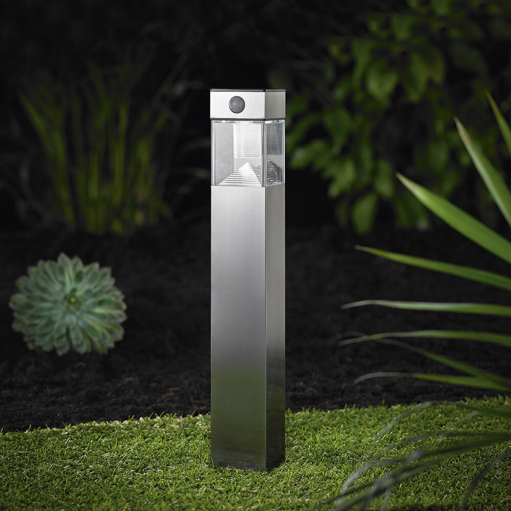 led solarlampe stand leuchte gartenlampe mit bewegungsmelder edelstahl 50cm so32 ebay. Black Bedroom Furniture Sets. Home Design Ideas