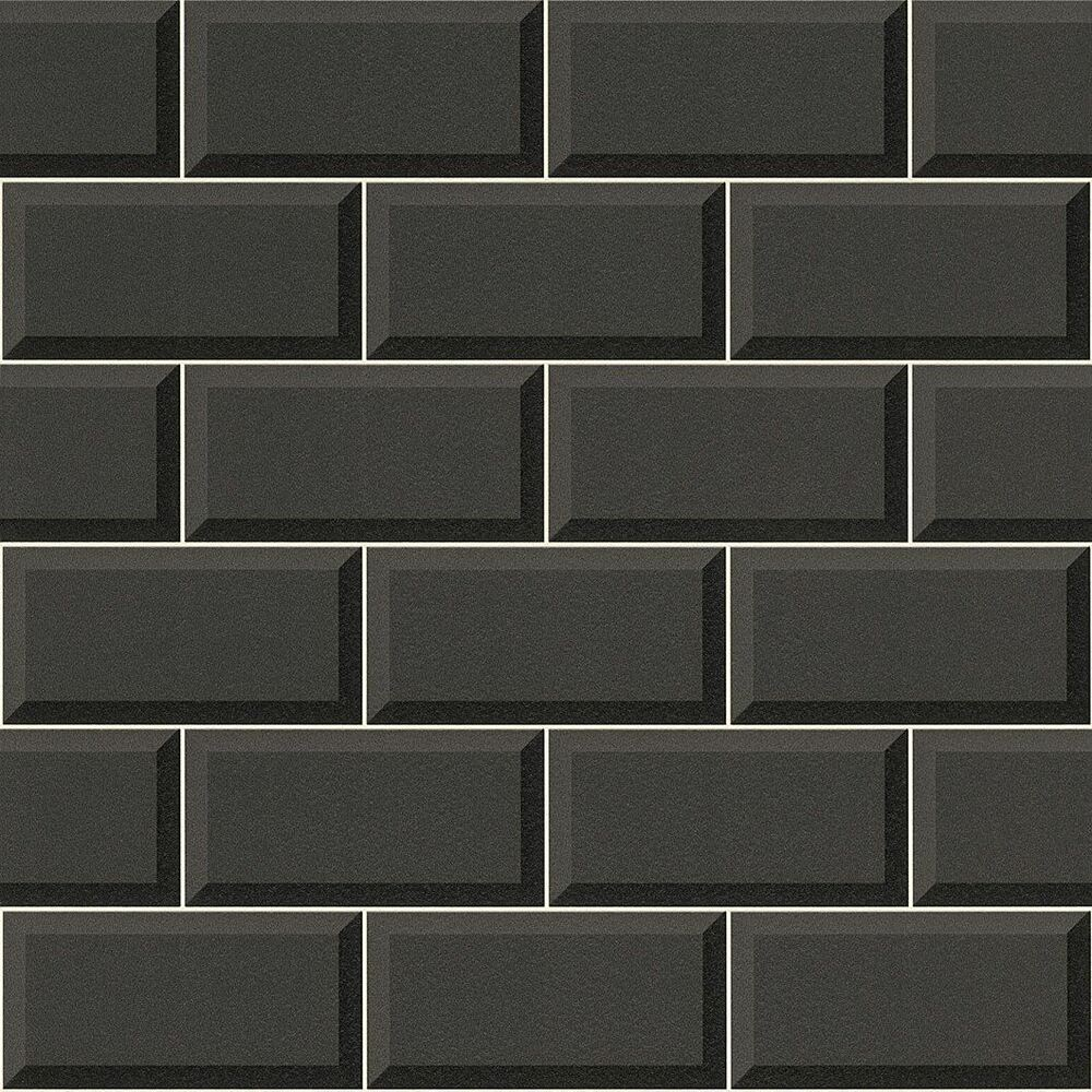 Black tile wallpaper 3d effect bathroom kitchen washable feature vinyl rasch 4000441855708 ebay - Washable wallpaper ...