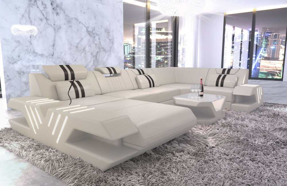 sofa couch wohnlandschaft luxus design venedig u form ottomane leder led usb ebay. Black Bedroom Furniture Sets. Home Design Ideas