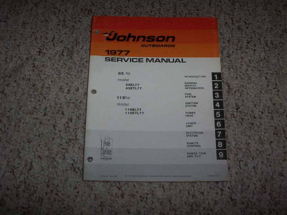 details about 1977 johnson evinrude 85 115 hp outboard motor shop service repair  manual