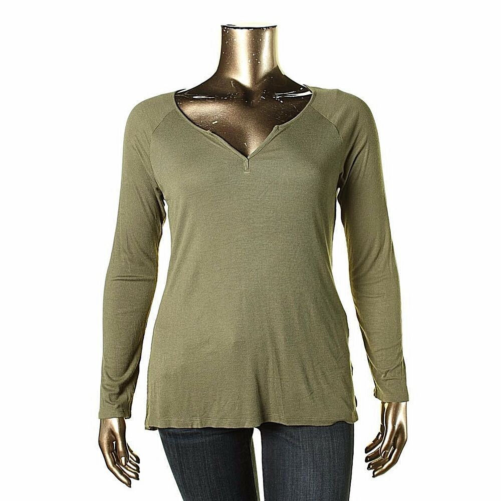 83b098f662893b Details about NWT HIPPIE ROSE Olive Green Ribbed Knit Henley Top Long Sleeve  Tee T-Shirt XL