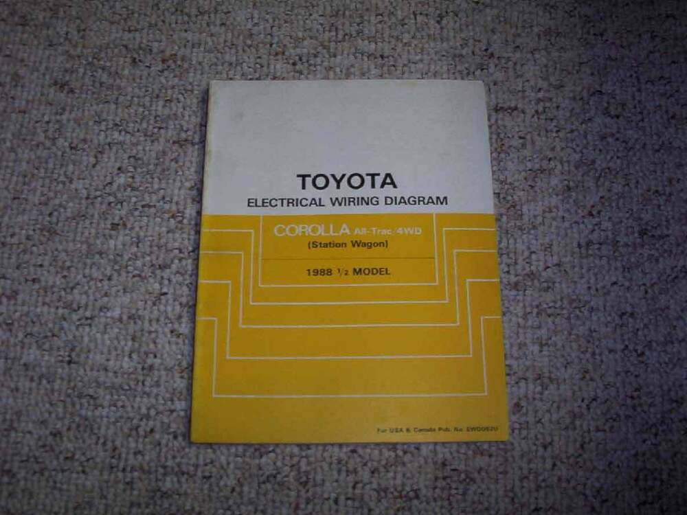 Details About 1988 Toyota Corolla Electrical Wiring Diagram Manual Fx Dx Fx16 Gts Le Sr5 1 6l