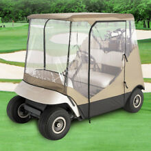 GOLF CLUB CART COVER ENCLOSURE WITH CLEAR WINDOW / DOORS 2 SEATER ZIPPERED DOORS