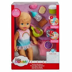 FISHER PRICE LITTLE MOMMY DRINK & WET DELUXE DOLL BLUE EYES  FKD02 *NEW*