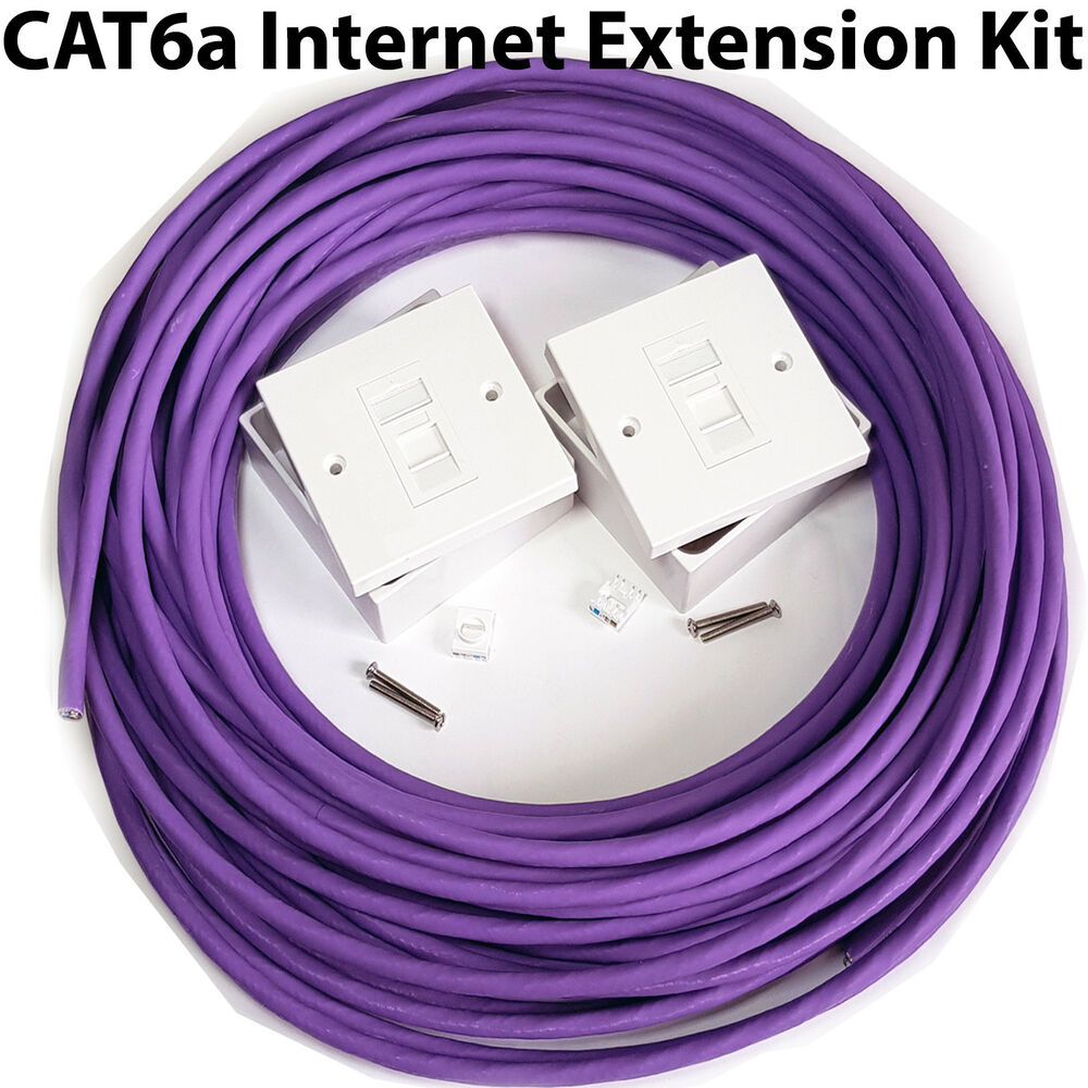 50m Cat6a Internet Extension Kit Indoor Ethernet Router Cable Rj45 Wire Diagram Face Plate 5056199803552 Ebay