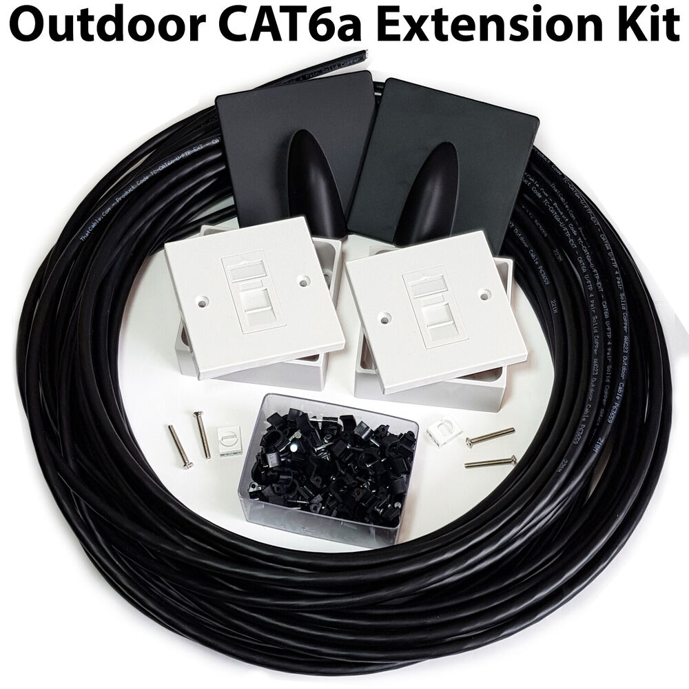 50m Cat6a Internet Extension Kit Outdoor External Cable Rj45 Wall Wire Diagram Face Plate 5056199803576 Ebay