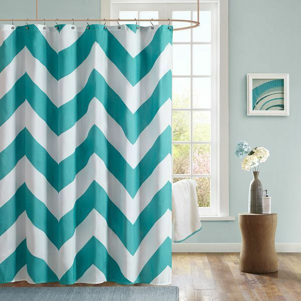 Details About Teal And White Shower Curtain By Mizone 72 X Inches Chevron New In Package