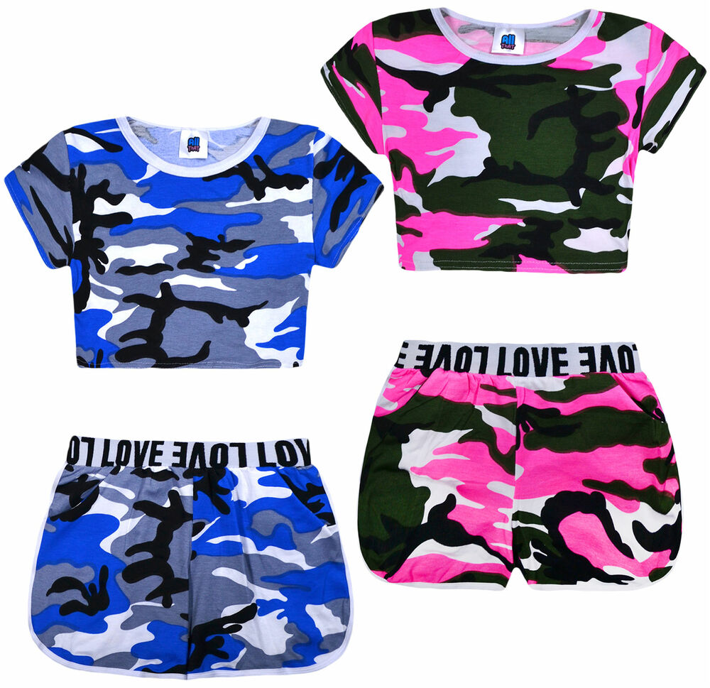Girls Camo Crop Top And Shorts Outfit New Kids Summer Set ...