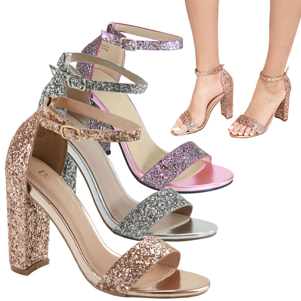 be93651aa320 Details about Metallic Glitter Encrusted Open Toe Ankle Strap Chunky Heel  Dress Pump Sandal US
