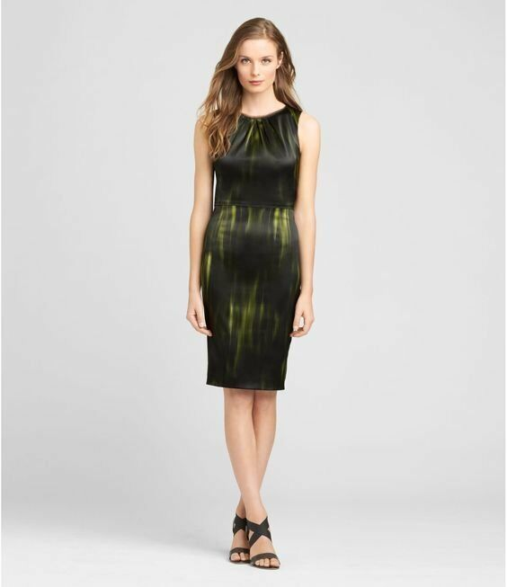 4c8911ec Details about $398 Elie Tahari Black Green Stretch Satin Rosario Sheath  Dress 0 NEW E547