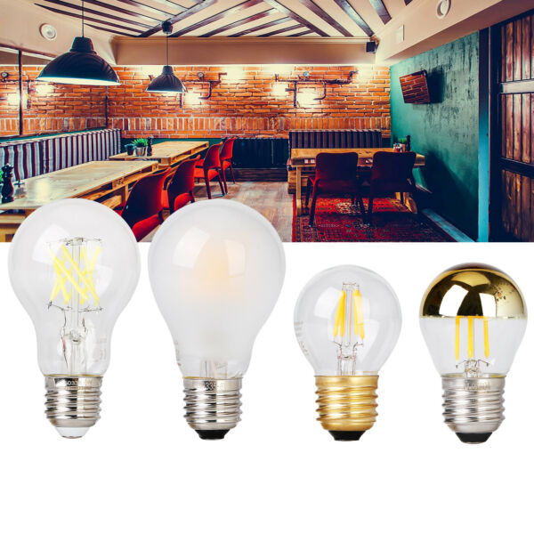 LED Filament Bulb Dimmable E27 A60 G45 4W 8W Vintage Edison Light Lamps AC 220V