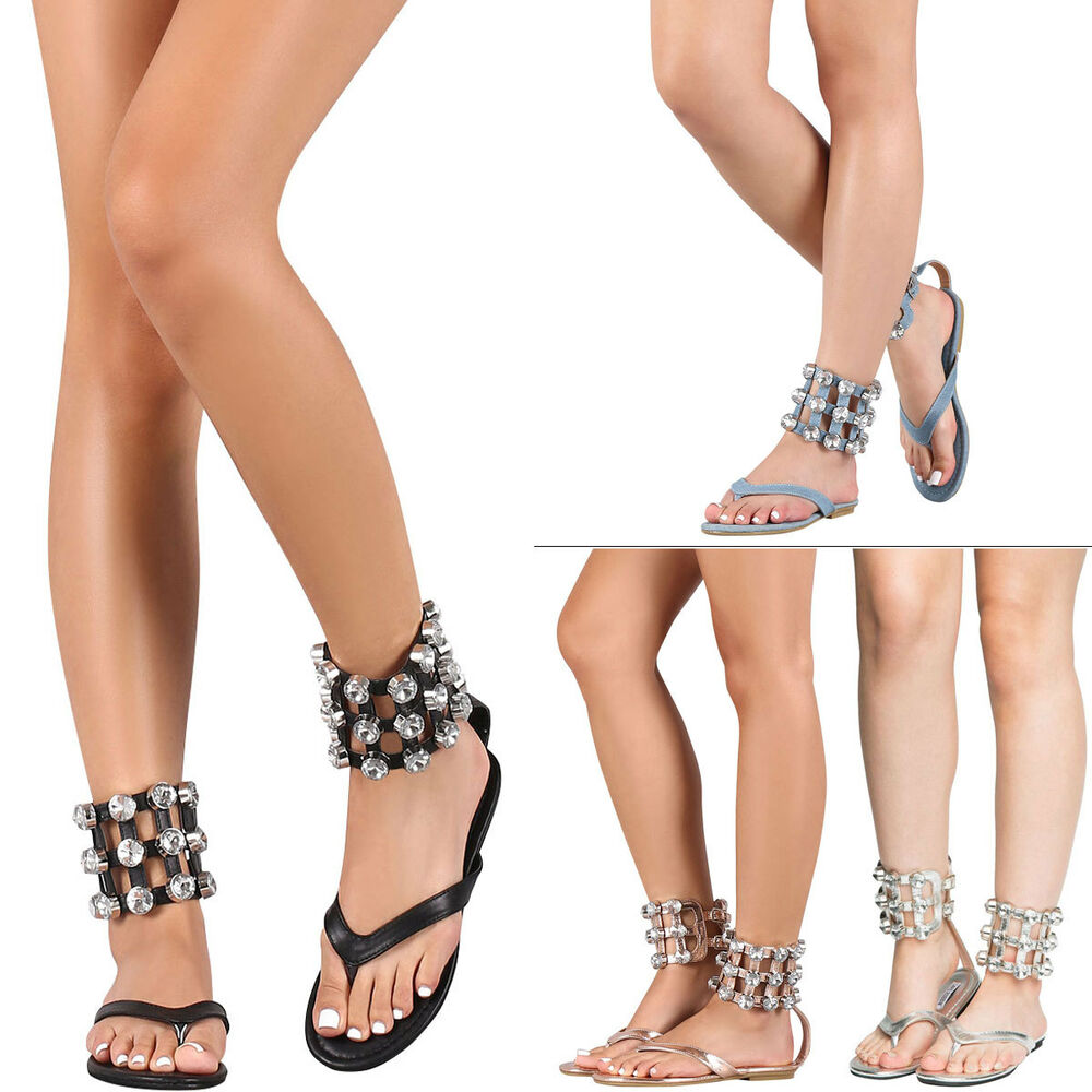 1d33ab58506 Details about Jeweled Rhinestone Cuff Ankle Strap Gladiator Flat Sandal  Shoe Thong Open Toe US