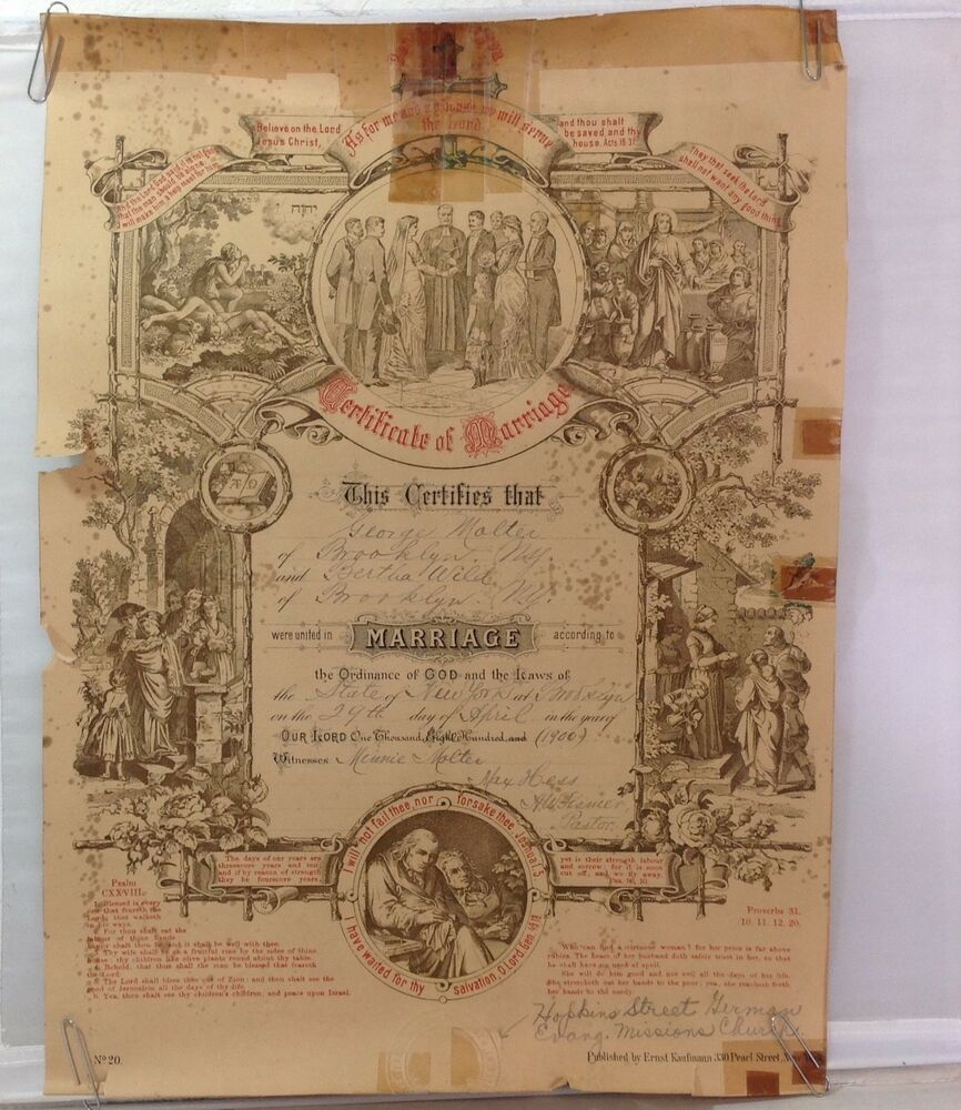 marriage certificate antique york ny brooklyn