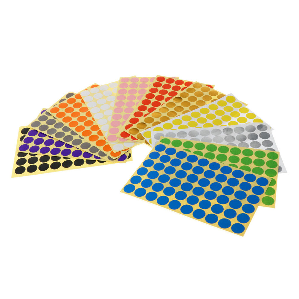Details about 15mm coloured dot stickers round spot circles dots paper labels 12 colours