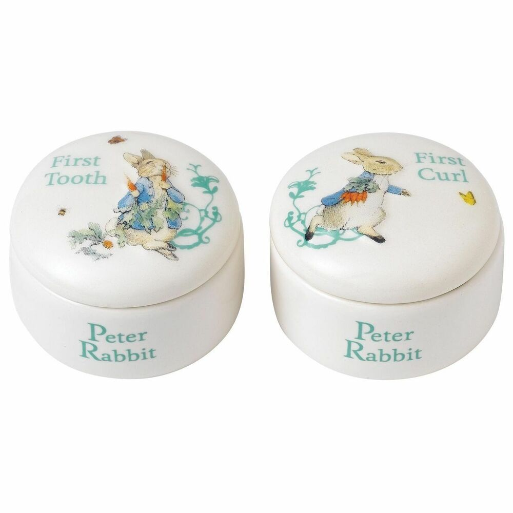 Details about Beatrix Potter Peter Rabbit Tooth Curl Box Baby Christening Gift