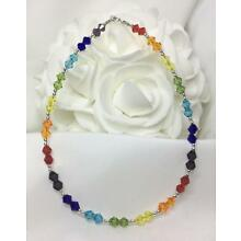 Sterling Silver Chakra Crystal Bracelet or Ankle Bracelet (3001) Plus Sizes