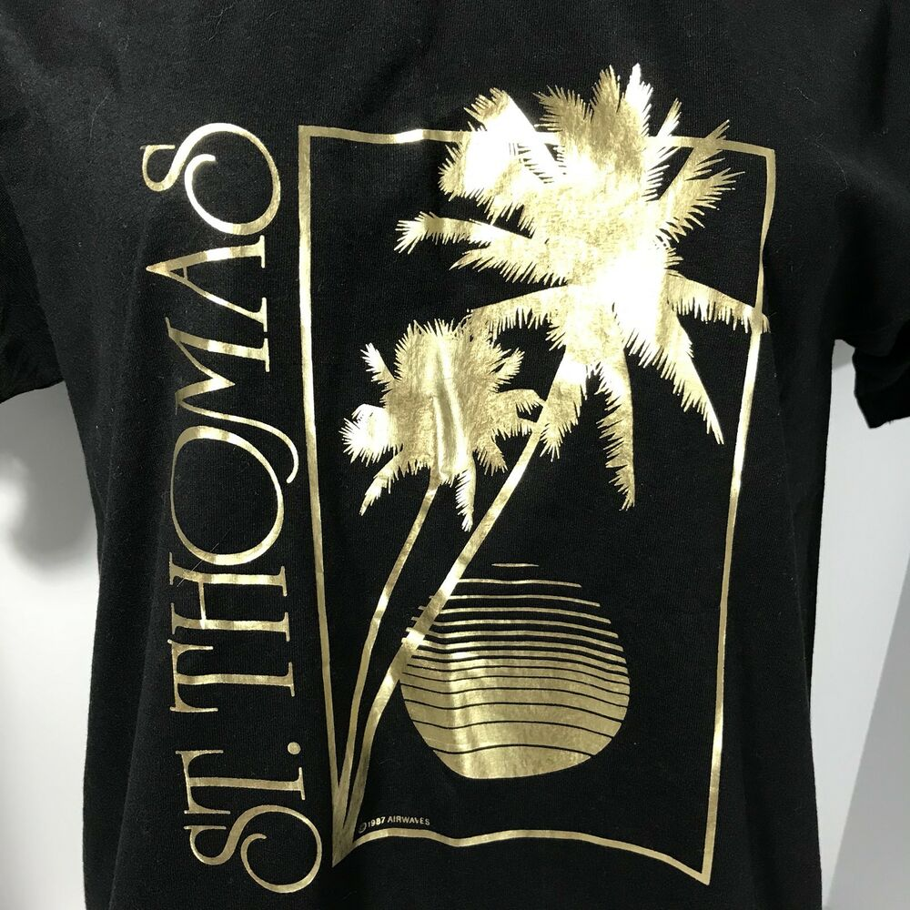 Details about St Thomas Virgin Islands 1987 Black and Gold T Shirt Mens  Large Vintage