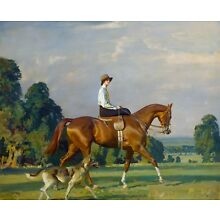 Sir Alfred Munnings, Horse, Miss Ruth Brady, dog, antique decor, 14