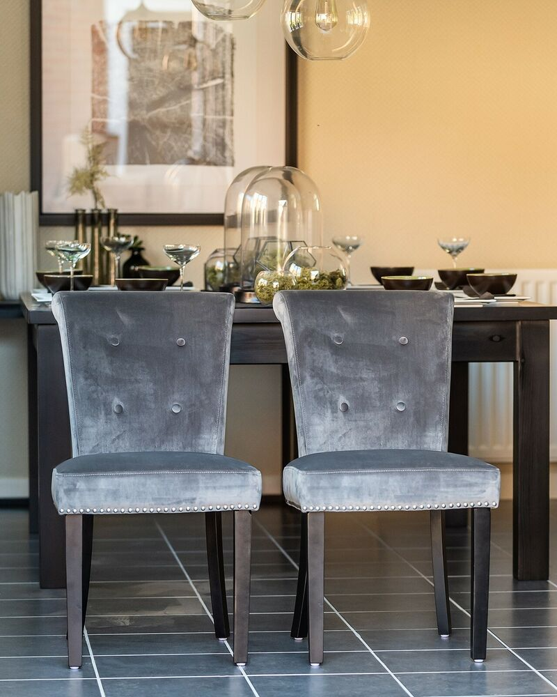 Pair Of Grey Velvet Button Back Dining Chair Chrome