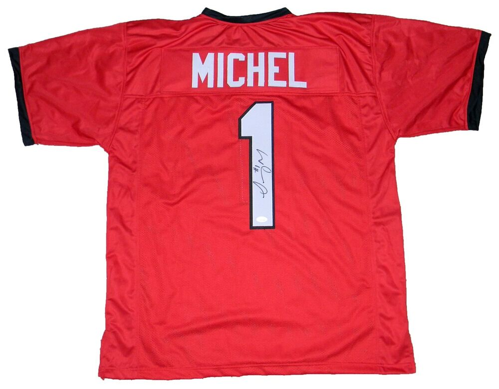 bb6f72c18 Details about SONY MICHEL SIGNED AUTOGRAPHED GEORGIA BULLDOGS  1 RED JERSEY  JSA