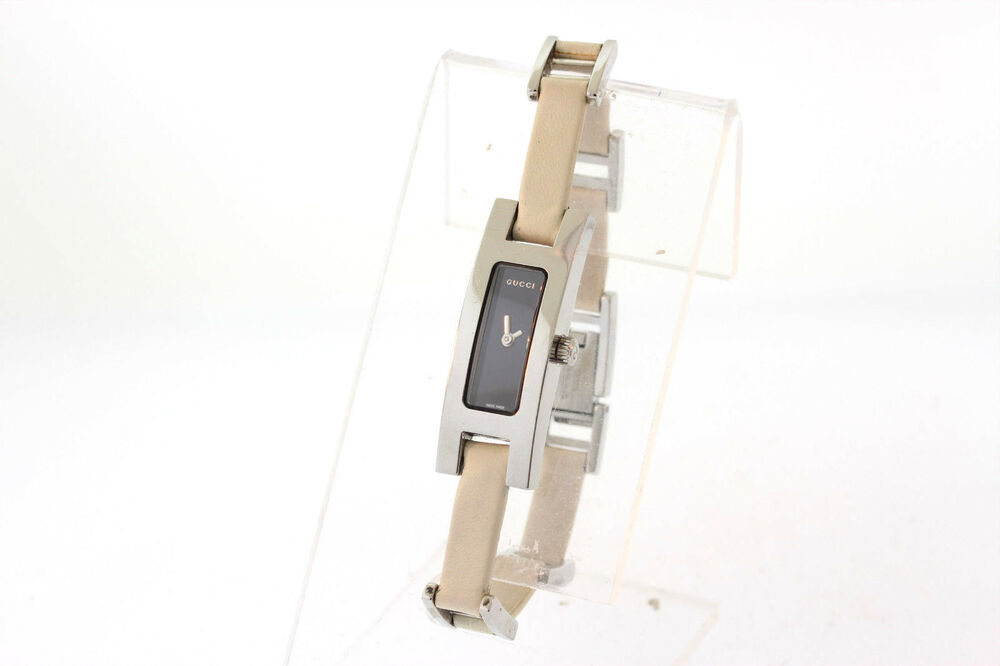 c8d75fb2193 Ladies Gucci YA039523 3900L Series Stainless Black Dial White Leather Watch