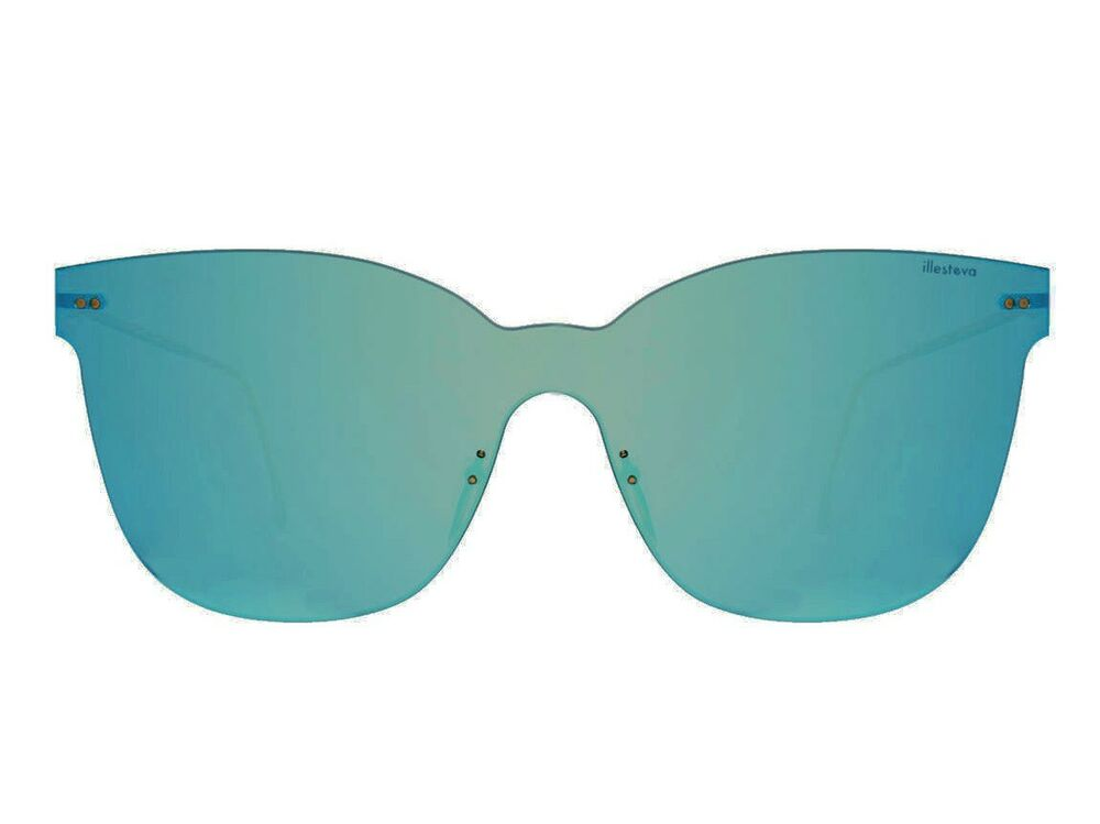 5f3104aa0857 Details about NEW - ILLESTEVA 'PIAZZA MASK' Blue/Gold-Tone C4 CAT-EYE  MIRRORED SUNGLASSES