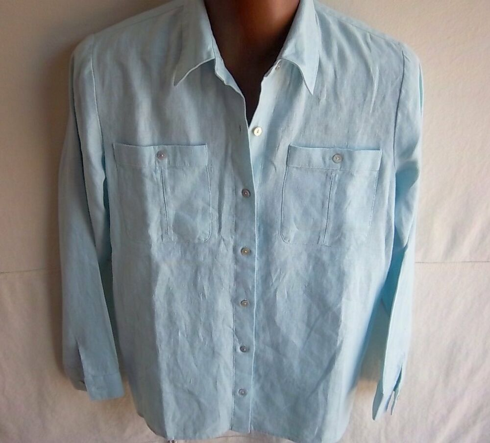 66a4f0f4b8 Details about ORVIS - Women's Light Blue Linen Button Down Shirt - SIZE 10