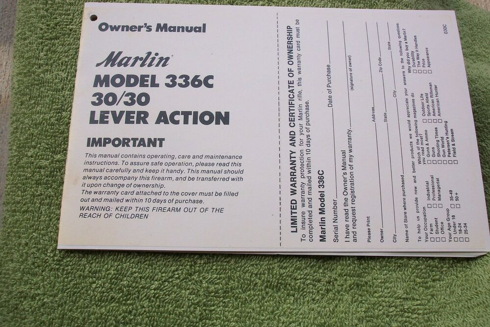 Marlin 3030 Model 336c Lever Action Owners Manual 7 Pages Of