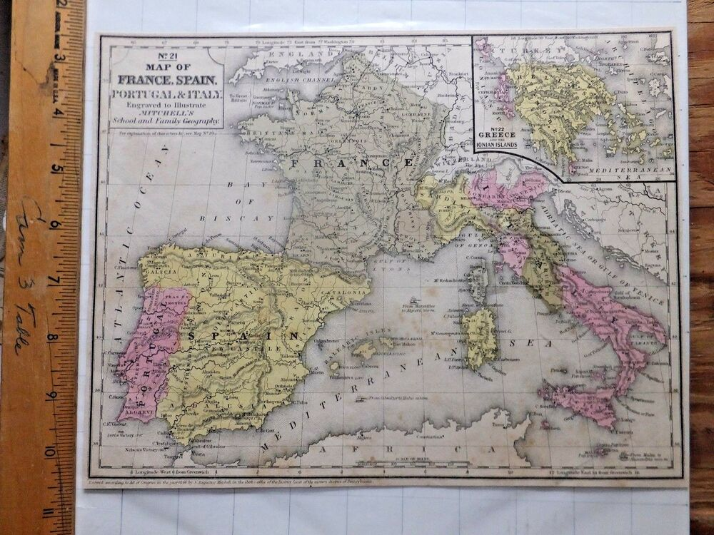 Map Of Spain Portugal And France.1848 Mitchell Atlas Color Map France Spain Portugal Italy 8 1