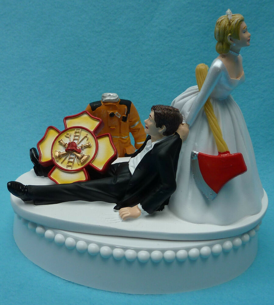 Wedding Cake Topper Fireman Firefighter Maltese Cross