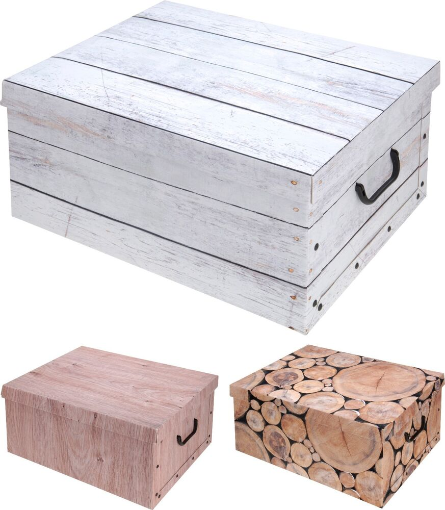 Lovely Large Logs Wood Design Cardboard Storage Boxes with ...