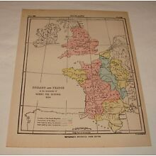 1904 map ~ ENGLAND and FRANCE circa 1154