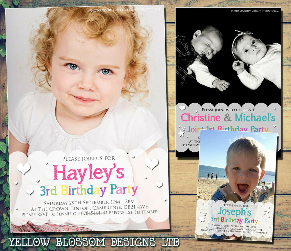 Details About 10 Personalised 1st 2nd Birthday Invitations First Party Invites Photo Boy Girl