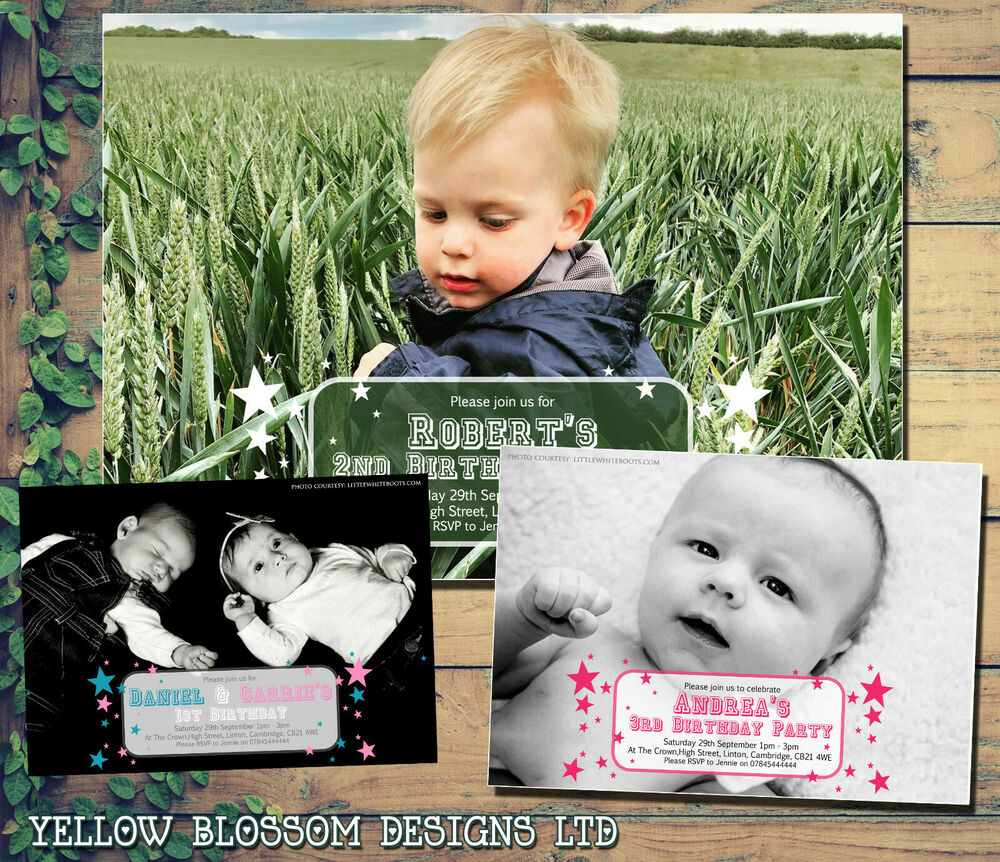 Details About 10 Personalised 1st 2nd 3rd Birthday Invitations Party Invites Photo Boy Girl
