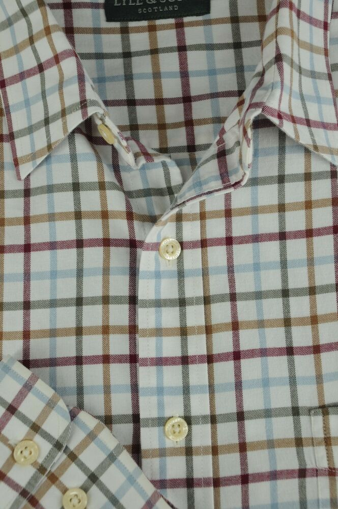 Casual Button-down Shirts Clothing, Shoes & Accessories Lyle & Scott Hommes Chemise Décontracté Haut En Coton Taille 2xl Iz238