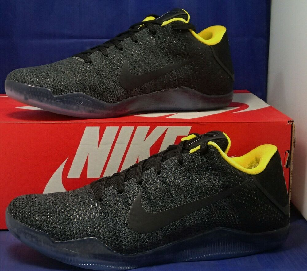 cheap for discount 88ae9 f88bf Details about Nike Kobe XI 11 Elite Low Flyknit iD Black Yellow SZ 9 (  885003-996 )