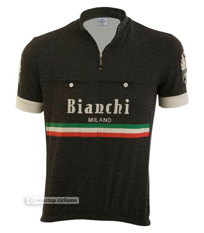 44445390a Details about Bianchi Milano HOZAN Vintage Retro Style Short Sleeve Cycling  Jersey   BLACK