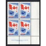 Canada #453 MNH LR Plate Block - plate 2 - Canadian Flag