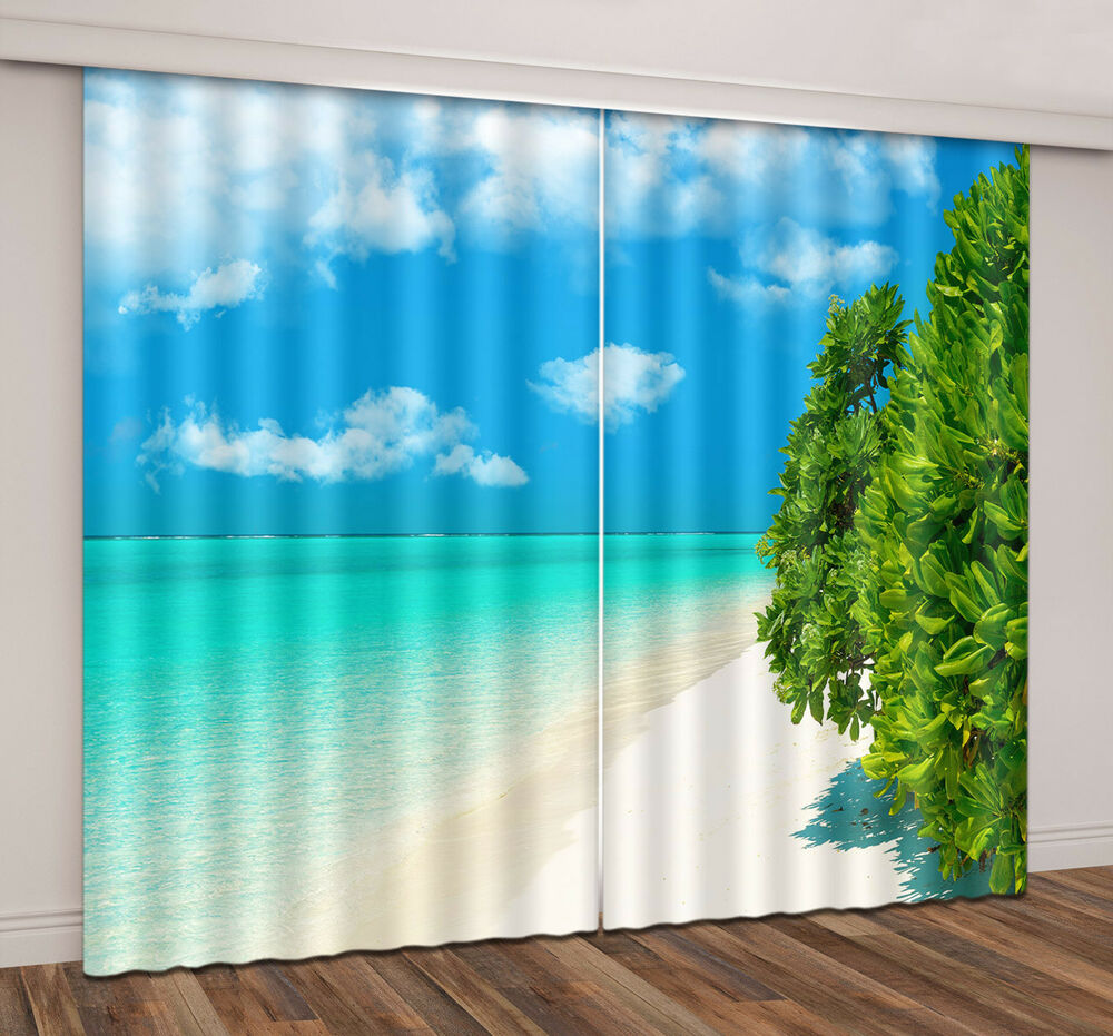 3d Blockout Window Curtain Sea Ocean Beach Tree Print 2