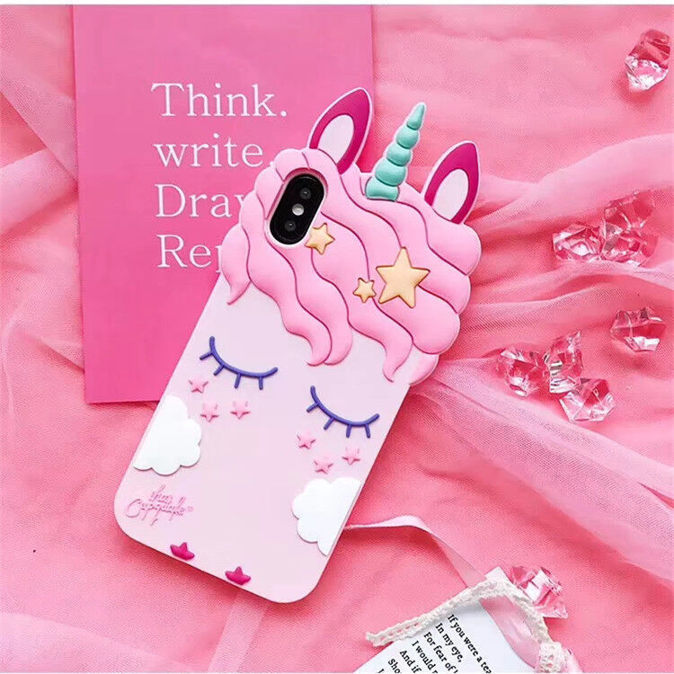 Details about Pink Girly Unicorn Cute Phone Case Protective Silicone Gel Cover For iPhone