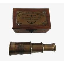 Antique Brass Telescope in Wooden Box Marine Nautical Decor Gift Gifts