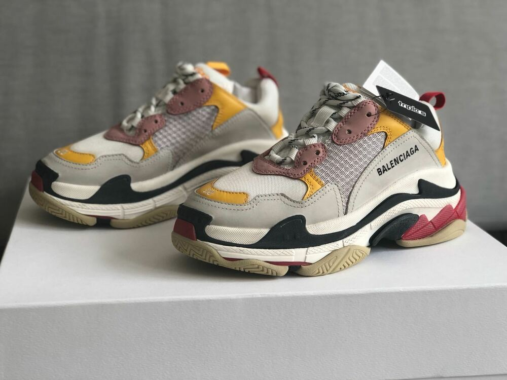 4461023f377f8 Details about BALENCIAGA TRIPLE S YELLOW PINK CLREAM SNEAKERS EU 35