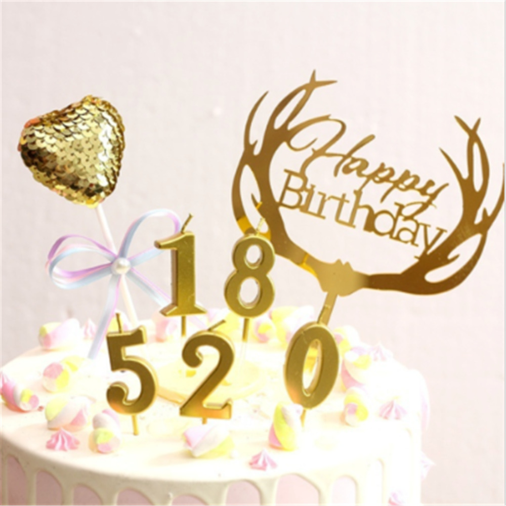 Details About Number 0 9 Happy Birthday Cake Candles Gold Topper Decoration Party Supplies New