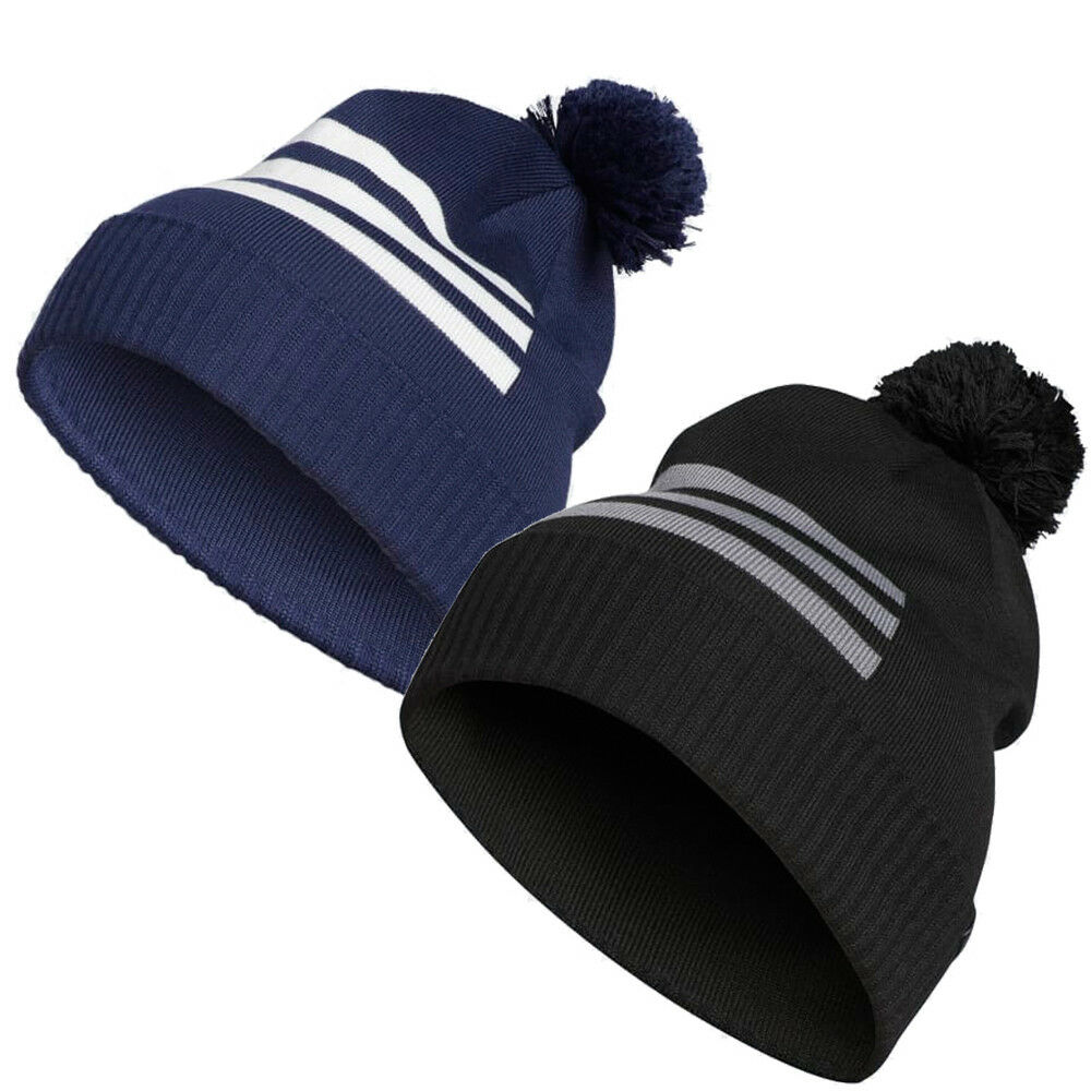 eeff9554 Details about ADIDAS 3-STRIPES BEANIE GOLF POM POM WINTER THERMAL HAT