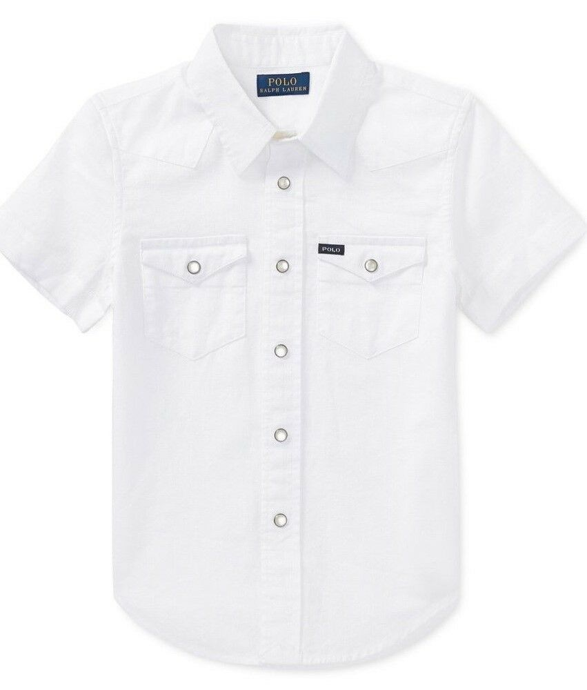 c2bd7103b Details about Polo Ralph Lauren Shortsleeve Cotton Western White Oxford  Shirt 5 Boys $45