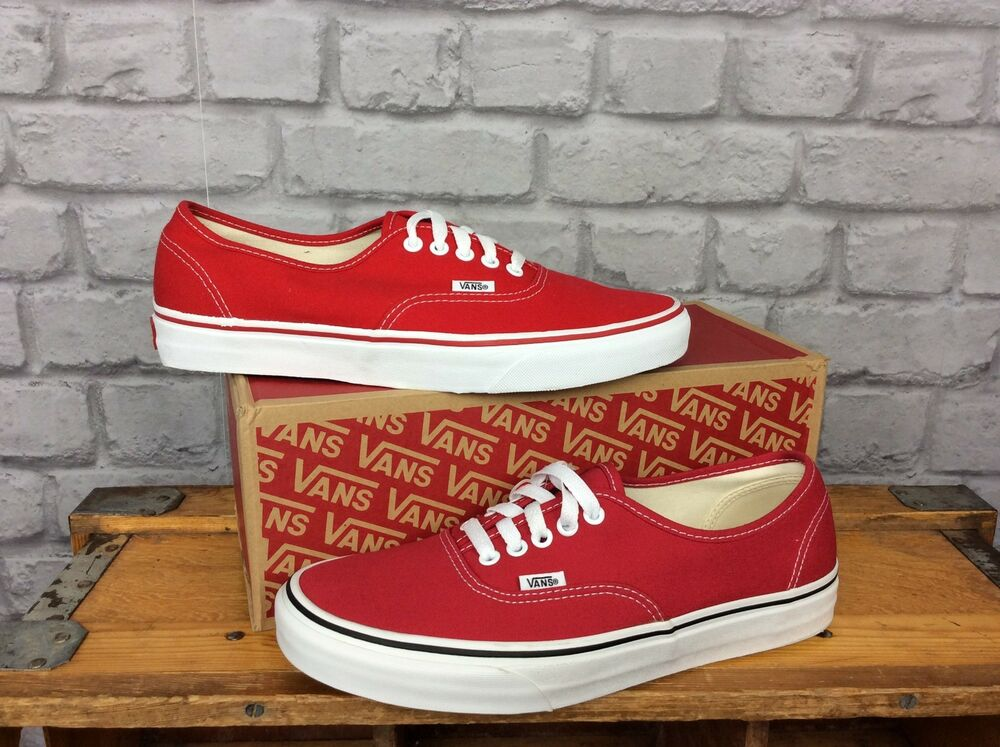 6b1f653ed52a Details about VANS MENS UK 9 EU 43 OFF THE WALL AUTHENTIC CRIMSON RED WHITE  TRAINERS